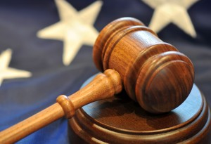 immigration litigation image of court gavel with United States flag